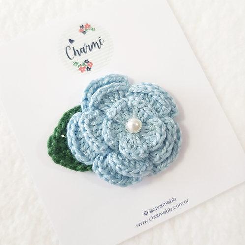Laço Flor de Crochê Azul Jeans