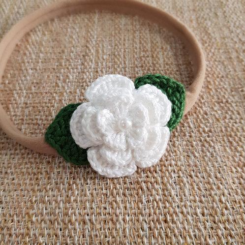 Laço Crochê Flor Branca