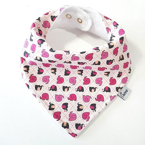 Bandana Elefantinhos Rosa Bebê