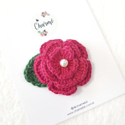Laço Flor de Crochê Pink Escuro