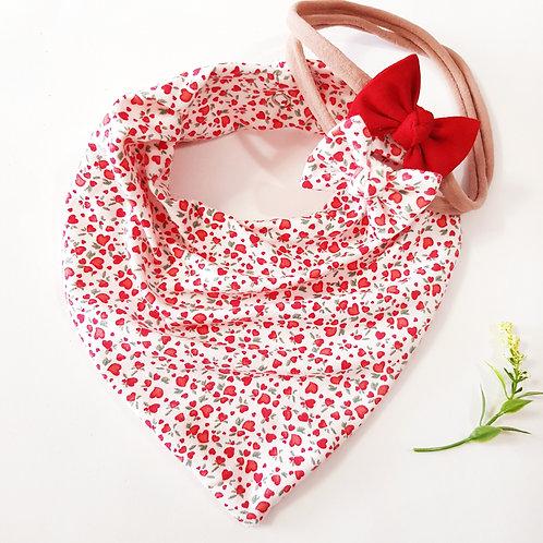 Conjunto Bandana +Laços Corações Branco e Vermelho