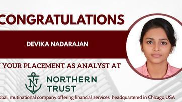 Devika Nadarajan Placed at Northern Trust Corportation.