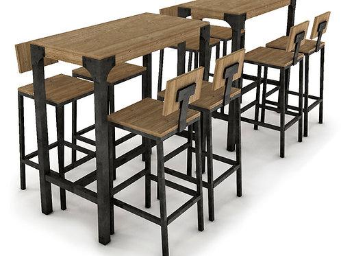 Conjunto de mesa y taburetes altos. Madera-acero.