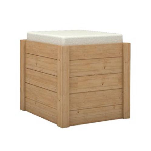 Taburete Puf Cubo en madera de pino y asiento tapicería.
