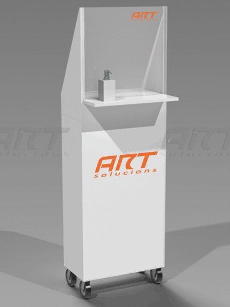 Mueble dispensador higiénico con mampara, para hostelería, comercios