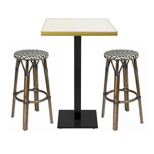Conjunto mesa y 2 taburetes altos bistró