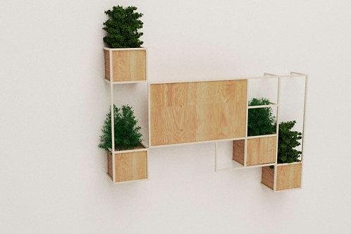 Jardín vertical en madera y metal