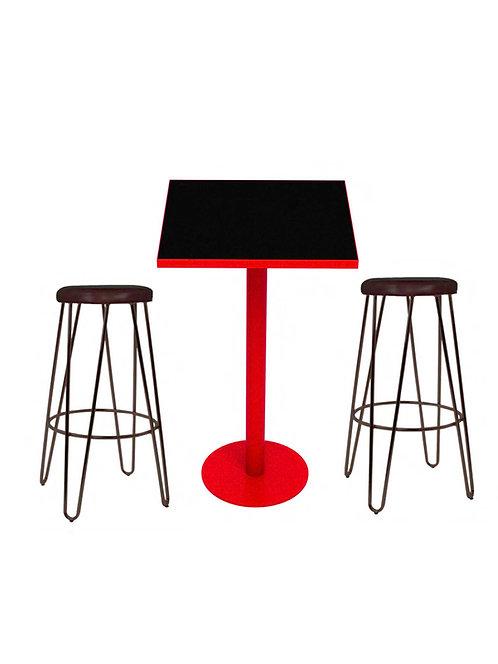 Copia de Conjunto de mesa y taburetes altos. Madera-acero.