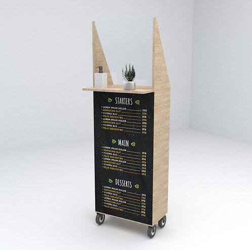Mueble dispensador higiénico con mampara y pizarra, fabricado en madera de pino