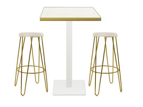 Conjunto mesa y 2 taburetes altos varilla dorada