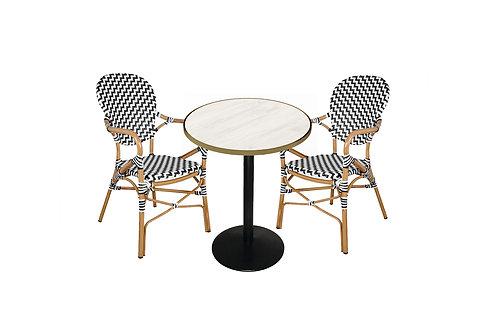 Conjunto mesa y 2 sillones estilo bistró