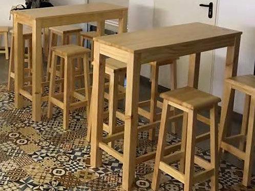 Conjunto mesa alta y 4 taburetes
