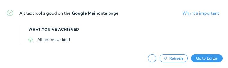 Google mainonta alt tekstit ovat tehty wix seo työkalussa