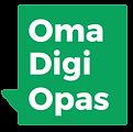 Oma Digi Opas vihreä logo puhekuplassa. Valkoinen teksti ja vihreä pohja.