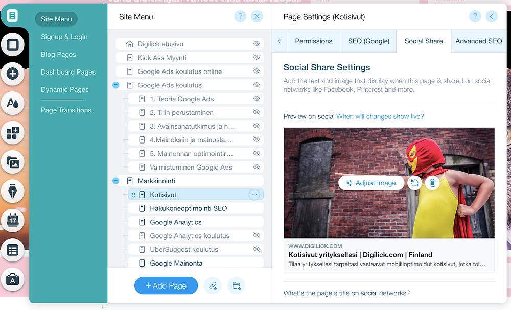 """Kotisivujen """"Social share"""" kuvan päivittäminen Wix kotisivuilla"""