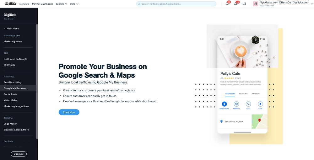 Yhdistä Google Business Wixissä suoraan
