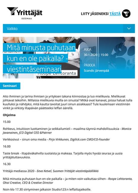 Suomen Yrittäjät seminaari Digilick