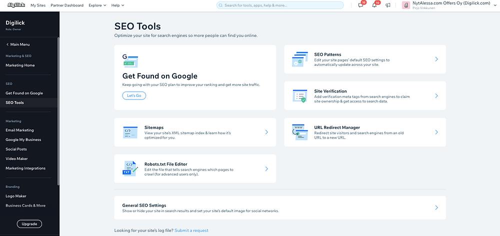 Wix-kotisivujen SEO työkalut kotisivu