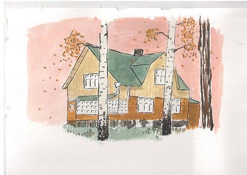 Vekarateatteri Hyyppärä kulttuurikeskus maalattu syksyinen talo koivujen lomassa