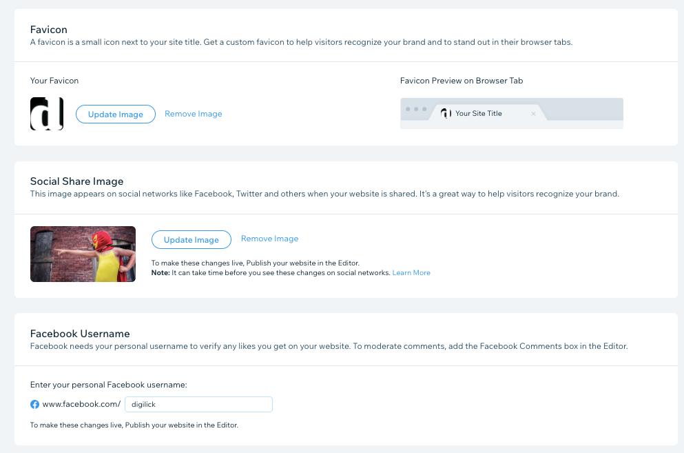 Wix-kotisivujen Favicon, Social Share ja Facebook asetukset