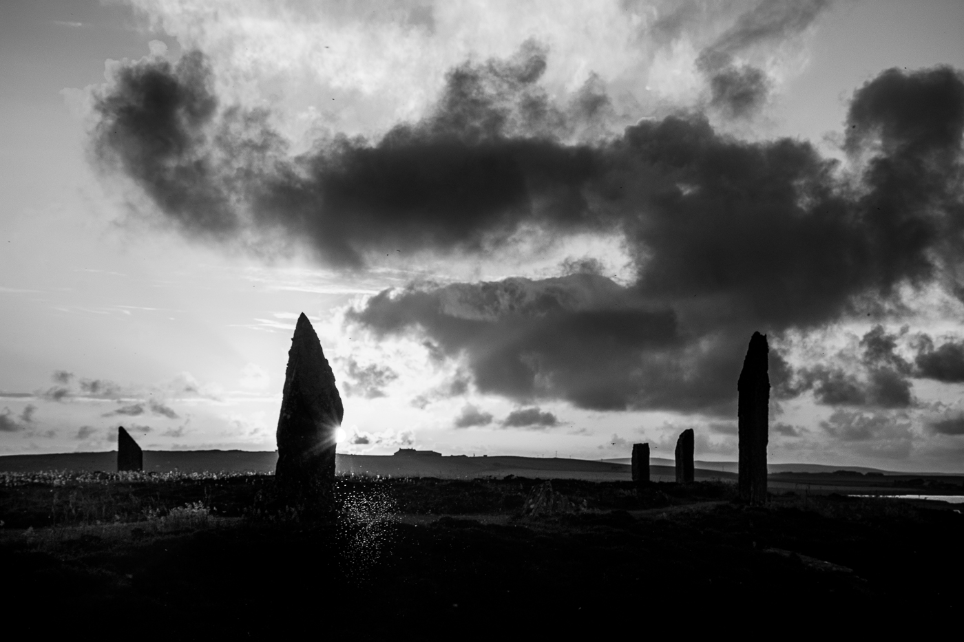 Midges in the Sunset Ring of Brodgar