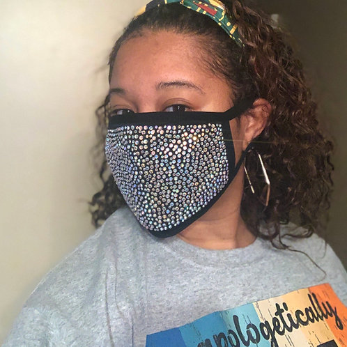 Rhinestone mask with filter pocket