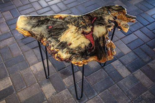 Buckeye Burl Table with Red Pools