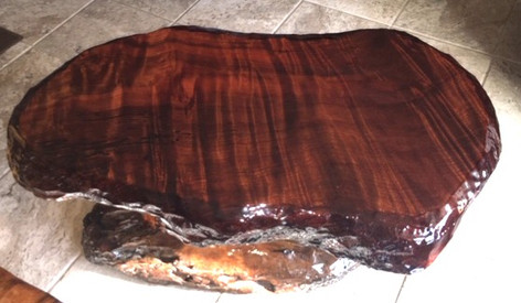 Red Wood Table with Driftwood Base