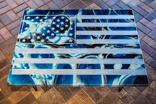 Blue, White & Black Flag Table