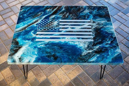Ocean Waves Flag Table