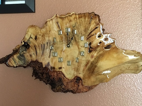 Large Blonde and Black Buckeye Burl Clock
