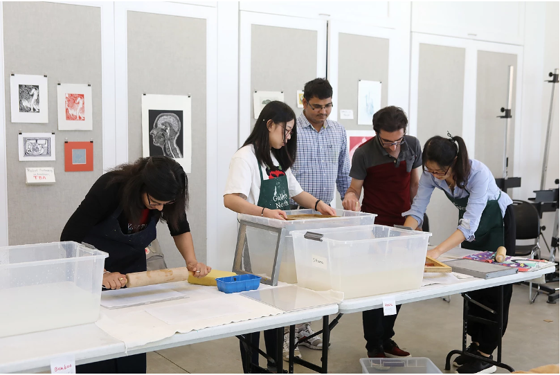 Papermaking workshop in Gallery North's Community Art Center