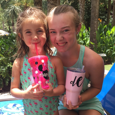 Pink Childrens Tumbler customized with Minnie Mouse Decal