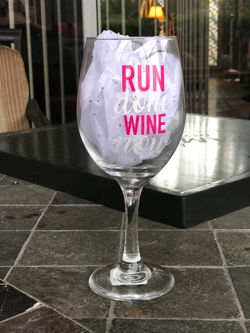 Run Done, Wine Now - White Wine Glass