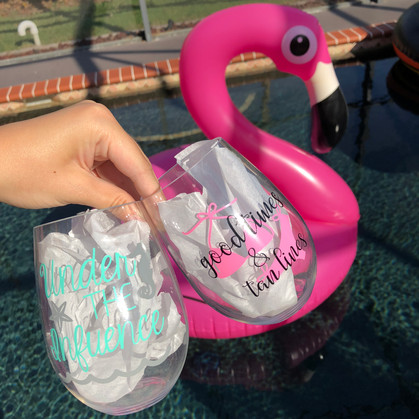 Under the Influence & Good Times & Tan Lines - Plastic Stemless Wine Glasses