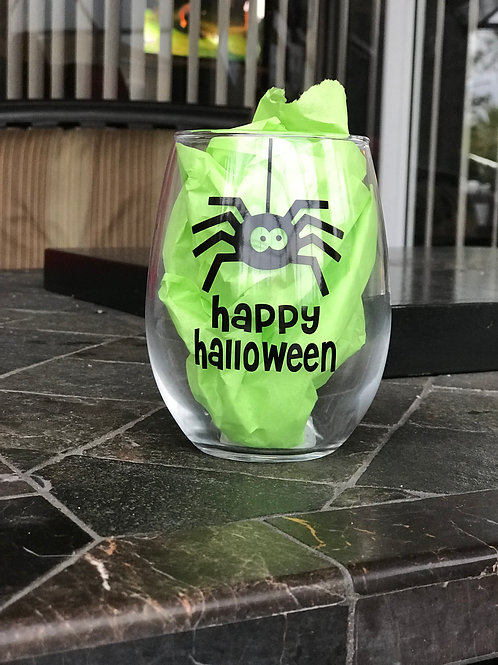 Happy Halloween - Stemless Wine Glass