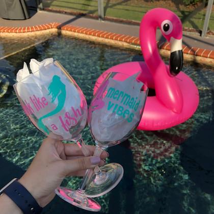 Drink like a Fish & Mermaid Vibes - Plastic White Wine Glass