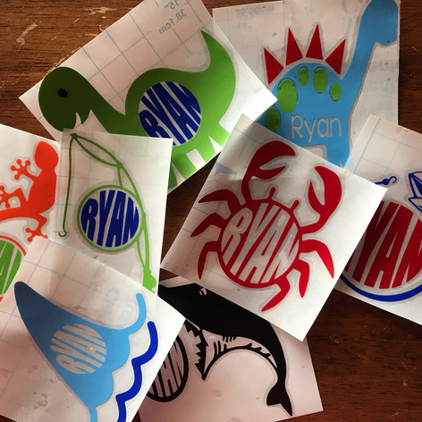 Custom Crab, Fishing, & Dinosaur Tumbler Decals for Little Boys