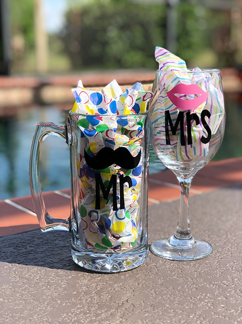 Mr. & Mrs.  Beer Mug & Wine Glass Set