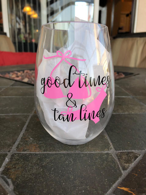 Good Times & Tan Lines - Stemless Wine Glass