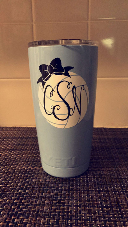 Volleyball Monogram Tumbler Decal
