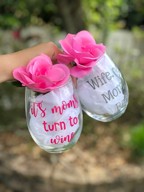 Mom Wine Glass Set