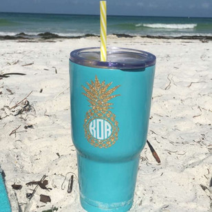 Monogram Pineapple Gold Glitter Decal with Turquoise Colored Tumbler