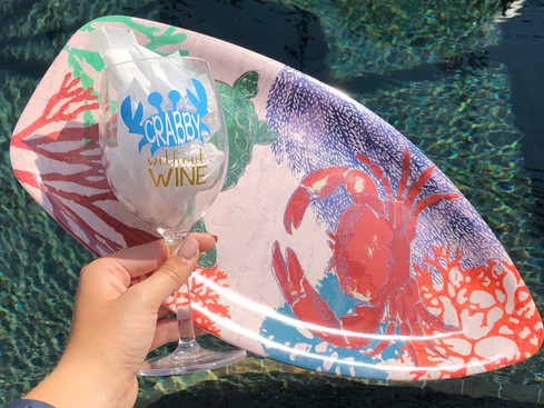 Crabby without Wine - Plastic White Wine Glass