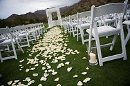 Flowers leading to the altar for the wedding