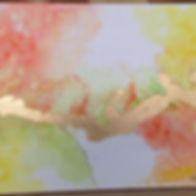 alcohol inks ans golde leaves.
