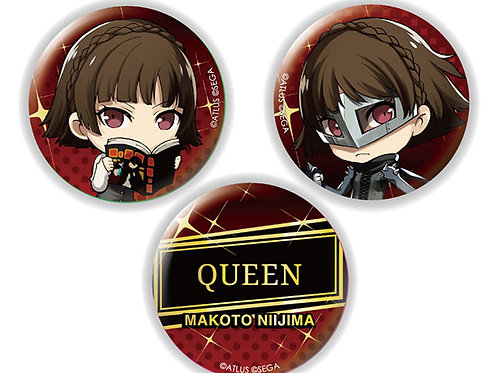 Chara-Forme Persona 5 The Royal Tin Badge Set Makoto Niijima & Queen