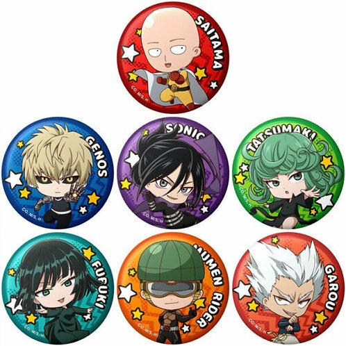 One-Punch Man Trading Punipuni Tin Badge 7 Item Set