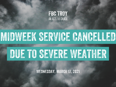 Midweek Service Cancelled