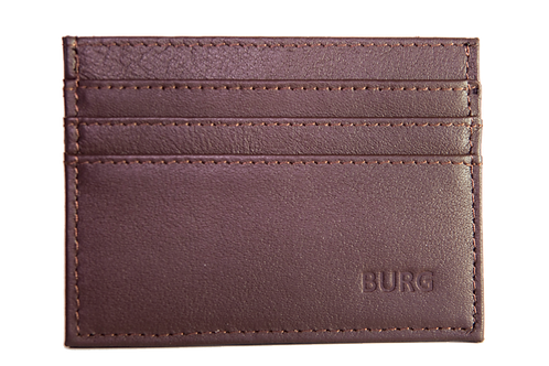 BROWN LEATHER CARD HOLDER WITH RFID